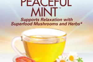 PEACEFUL MINT CAFFEINE FREE SUPPORTS RELAXATION WITH SUPERFOOD MUSHROOMS AND HERBS DIETARY SUPPLEMENT TEA BAGS