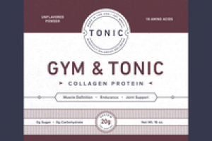GYM & TONIC COLLAGEN PROTEIN DIETARY SUPPLEMENT POWDER, UNFLAVORED