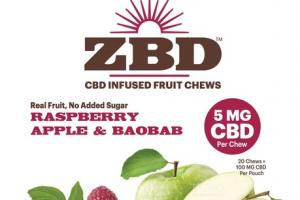 RASPBERRY APPLE & BAOBAB 100 MG CBD INFUSED FRUIT CHEWS