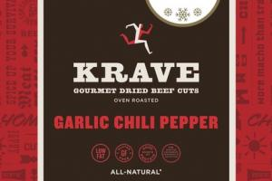 GARLIC CHILI PEPPER OVEN ROASTED GOURMET DRIED BEEF CUTS