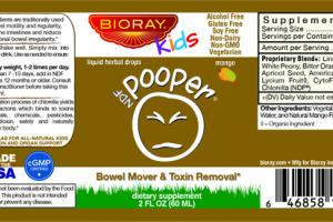 NDF POOPER BOWEL MOVER & TOXIN REMOVAL DIETARY SUPPLEMENT LIQUID HERBAL DROPS, MANGO