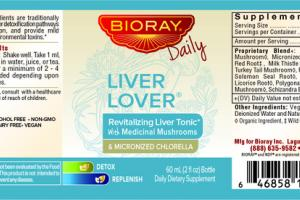 LIVER LOVER REVITALIZING LIVER TONIC WITH MEDICINAL MUSHROOMS & MICRONIZED CHLORELLA DAILY DIETARY SUPPLEMENT