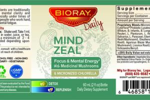 MIND ZEAL FOCUS & MENTAL ENERGY WITH MEDICINAL MUSHROOMS & MICRONIZED CHLORELLA DAILY DIETARY SUPPLEMENT