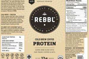COLD BREW COFFEE ORGANIC PROTEIN SUPER HERB ELIXIR WITH FAIR TRADE COFFEE & MCTS