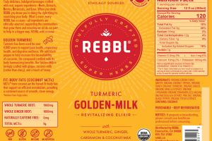 TURMERIC GOLDEN-MILK ORGANIC REVITALIZING ELIXIR WITH WHOLE TURMERIC, GINGER, CARDAMOM & COCONUT-MILK