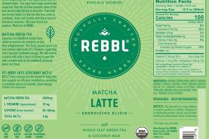 MATCHA LATTE ORGANIC ENERGIZING ELIXIR WITH WHOLE LEAF GREEN TEA & COCONUT-MILK
