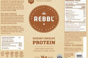 HAZELNUT CHOCOLATE ORGANIC PROTEIN SUPER HERB ELIXIR WITH HAZELNUTS & DARK COCOA