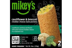 CAULIFLOWER & BROCCOLI CHEDDAR CHEESE STYLE POCKETS CAULIFLOWER AND BROCCOLI FLORETS WITH PLANT-BASED CHEDDAR CHEESE IN A TOASTED CRUST