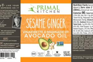 SESAME GINGER AVOCADO OIL VINAIGRETTE & MARINADE