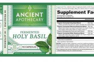 FERMENTED HOLY BASIL WHOLE FOOD DIETARY SUPPLEMENT CAPSULES