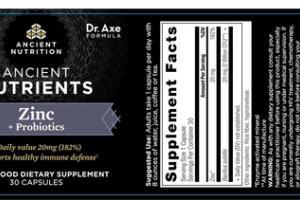 ANCIENT NUTRIENTS ZINC + PROBIOTICS WHOLE FOOD DIETARY SUPPLEMENT CAPSULES