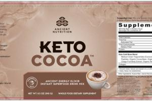 KETO COCOA ANCIENT ENERGY ELIXIR INSTANT SUPERFOOD DRINK MIX WHOLE FOOD DIETARY SUPPLEMENT