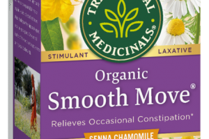 CAFFEINE FREE ORGANIC SMOOTH MOVE HERBAL SUPPLEMENT WRAPPED TEA BAGS, SENNA CHAMOMILE
