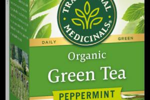 ORGANIC HERBAL SUPPLEMENT GREEN TEA BAGS, PEPPERMINT