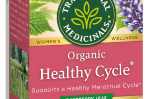 HEALTHY CYCLE SUPPORTS A HEALTHY MENSTRUAL CYCLE HERBAL SUPPLEMENT TEA BAGS, RASPBERRY LEAF