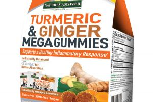 MEGA GUMMIES SUPPORTS A HEALTHY INFLAMMATORY RESPONSE DIETARY SUPPLEMENT GELATIN FREE/VEGAN GUMMIES TURMERIC & GINGER