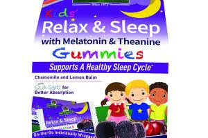KIDS' RELAX & SLEEP WITH MELATONIN & THEANINE SUPPORTS A HEALTHY SLEEP CYCLE DIETARY SUPPLEMENT VEGAN GUMMIES, YUMMY CHERRY