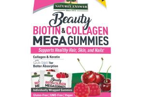 BEAUTY BIOTIN & COLLAGEN SUPPORTS HEALTHY HAIR, SKIN, AND NAILS DIETARY SUPPLEMENT MEGA GUMMIES