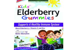 KIDS' ELDERBERRY SUPPORTS A HEALTHY IMMUNE SYSTEM DIETARY SUPPLEMENT VEGAN GUMMIES, YUMMY BERRY