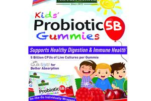 KIDS' PROBIOTIC 5B SUPPORTS HEALTHY DIGESTION & IMMUNE HEALTH DIETARY SUPPLEMENT VEGAN GUMMIES, YUMMY CHERRY