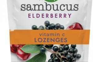 SAMBUCUS ELDERBERRY VITAMIN C DIETARY SUPPLEMENT LOZENGES, WILD CHERRY