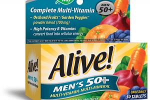 MEN'S 50+ MULTI-VITAMIN MULTI-MINERAL DIETARY SUPPLEMENT TABLETS ORCHARD FRUITS / GARDEN VEGGIES