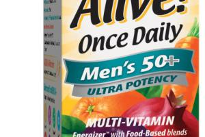 MEN'S 50+ ULTRA POTENCY ONCE DAILY POWDER BLENDS (80 MG) MULTI-VITAMIN SUPPLEMENT TABLETS, ORCHARD FRUITS / GARDEN VEGGIES & DAILY GREENS