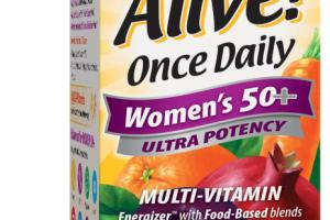 WOMEN'S 50+ ULTRA POTENCY ORCHARD FRUITS / GARDEN VEGGIES & DAILY GREENS POWDER BLENDS (80 MG), ENZYMES, BIOFLAVONOIDS MULTI-VITAMIN SUPPLEMENT TABLETS
