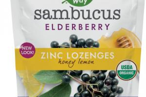 ELDERBERRY ZINC DIETARY SUPPLEMENT LOZENGES, HONEY LEMON