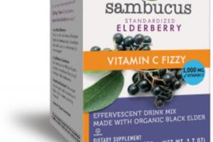 STANDARDIZED ELDERBERRY VITAMIN C FIZZY DIETARY SUPPLEMENT EFFERVESCENT DRINK MIX PACKETS
