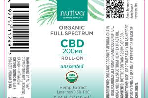 ORGANIC FULL SPECTRUM CBD 200 MG HEMP EXTRACT ROLL-ON, UNSCENTED