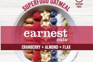 GLUTEN-FREE & UNSWEETENED! CRANBERRY + ALMOND + FLAX SUPERFOOD OATMEAL