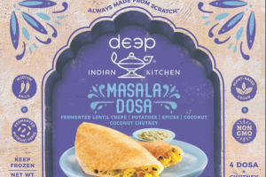 MEDIUM SPICE FERMENTED LENTIL CREPE, POTATOES, SPICES, COCONUT CHUTNEY MASALA DOSA