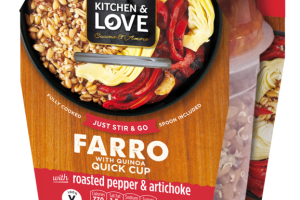 FARRO WITH QUINOA QUICK CUP WITH ROASTED PEPPER & ARTICHOKE