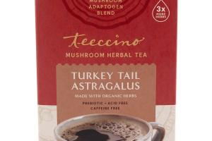 TURKEY TAIL ASTRAGALUS MUSHROOM HERBAL TEA BAGS