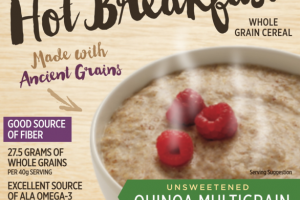 UNSWEETENED QUINOA MULTIGRAIN ORGANIC CREAMY HOT BREAKFAST WHOLE GRAIN CEREAL