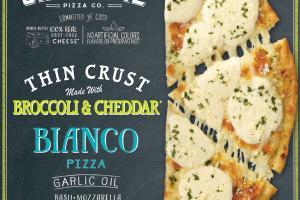 BIANCO GARLIC OIL, BASIL, MOZZARELLA, PROVOLONE & ASIAGO THIN CRUST PIZZA