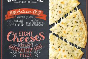 EIGHT CHEESES CREAMY GARLIC ALFREDO SAUCE THIN ARTISAN CRUST PIZZA