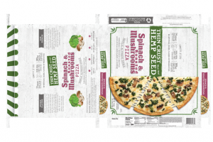 SPINACH & ROASTED MUSHROOMS THIN CRUST HEMP SEED PIZZA