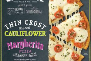 MARGHERITA MARINARA SAUCE, DICED TOMATOES, GARLIC, BASIL, FRESH SLICED MOZZARELLA THIN CRUST MADE WITH CAULIFLOWER PIZZA