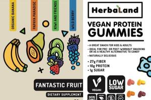 VEGAN PROTEIN DIETARY SUPPLEMENT GUMMIES FANTASTIC FRUIT