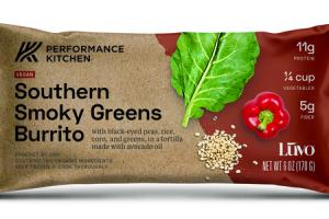 SOUTHERN SMOKY GREENS BURRITO WITH BLACK-EYED PEAS, RICE, CORN, AND GREENS, IN A TORTILLA