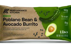 POBLANO BEAN & AVOCADO BURRITO WITH QUINOA, BLACK BEANS, AND AVOCADO, IN A TORTILLA