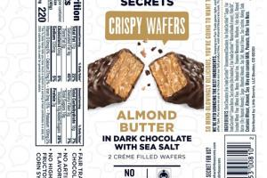 ALMOND BUTTER IN DARK CHOCOLATE WITH SEA SALT CRISPY WAFERS