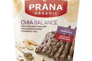 CHIA BALANCE DARK CHOCOLATE BARK WITH CARAMELIZED COCONUT & PROBIOTIC CHIA