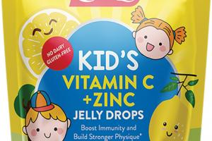 KID'S VITAMIN C + ZINC BOOST IMMUNITY AND BUILD STRONGER PHYSIQUE DIETARY SUPPLEMENT JELLY DROPS TASTY LEMON