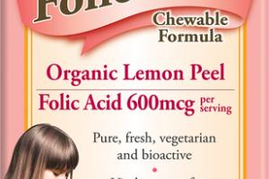 FOLIC ACID 600MCG DIETARY SUPPLEMENT VEGETARIAN CHEWABLE FORMULA TABLETS ORGANIC LEMON PEEL