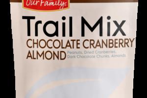CHOCOLATE CRANBERRY ALMOND TRAIL MIX PEANUTS, DRIED CRANBERRIES, DARK CHOCOLATE CHUNKS, ALMONDS