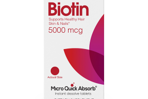 BIOTIN SUPPORTS HEALTHY HAIR SKIN & NAILS* 5000 MCG *THIS STATEMENT HAS NOT BEEN EVALUATED BY THE FOOD AND DRUG ADMINISTRATION. THIS PRODUCT IS NOT INTENDED TO DIAGNOSE, TREAT, CURE OR PREVENT ANY DISEASE.