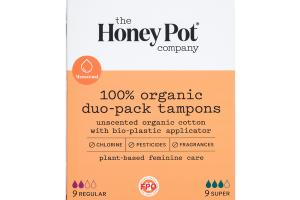 MENSTRUAL 100% ORGANIC DUO-PACK TAMPONS, UNSCENTED